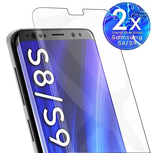 UTECTION 2X UV Full Screen Schutzglas für Samsung Galaxy S9 / S8 - Innovative Glasfolie mit Kleber & Lampe - 3D Folie Cover Schutzfolie - Clear Displayschutzfolie - Schutzglasfolie Volle Abdeckung (Handy Cover Galaxy Mega 2)