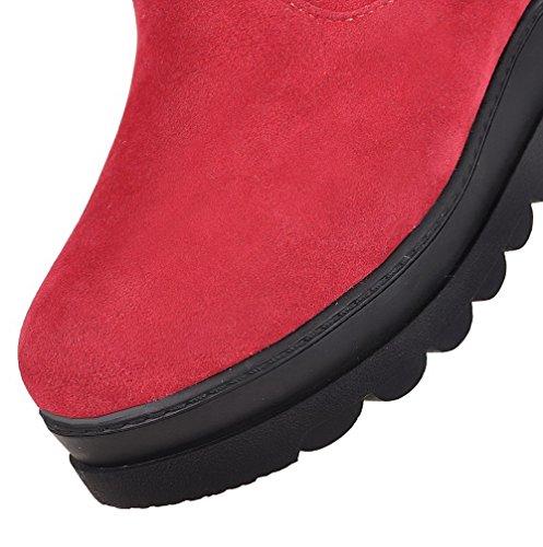 Voguezone009 Femme Pure Shimmer Talon Moyen Pull Bottes Rouges À Bout Rond