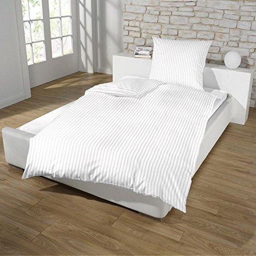 Hotel Damast Luxus Satin Baumwolle Bettwäsche 135x200 + 80x80 Kissenbezug Reißverschluss od Hotelverschluss, Farbe:WEISS, Größe:HOTELVERSCHLUSS - Weiße Bettwäsche