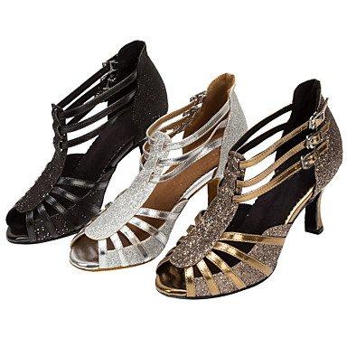 Silence @ Femme piste de danse latine Chaussures de danse Paillettes étincelante Salsa Sandales talons Noir/argent/doré Silver