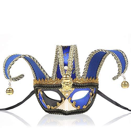 Jugend Kostüm Mädchen - Liuxiaomiao-AC Tanzmaske Vintage Maske Heißer Maskerade Party Nachtclub Cosplay Dekorative Plastikmaske Dame Jugend Mädchen Feiertagshalloween-Kostüm (Farbe : Blau, Größe : 28x16.5cm)