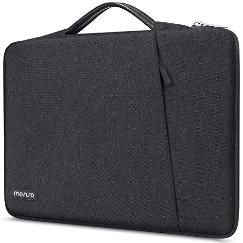 Mosiso 360 Schutzhülle für Laptops mit 13-13,3 Zoll (33,78 cm), geeignet für MacBook Pro, MacBook Air, Notebook Computer, stoßfest, Handtasche, Polyester vertikale Tasche mit Schrägtasche, Space Grey