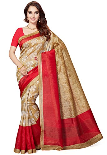 Ishin Bhagalpuri Art Silk Beige & Red Party Wear Wedding Wear casual Daily Wear Festive Wear Bollywood New Collection Printed Latest Design Trendy Women's Saree  available at amazon for Rs.399