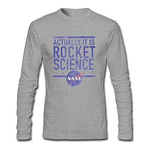 Arnoldo Blacksjd Customized NASA It is Rocket Science T Shirt for Man Long Sleeve Grey Medium