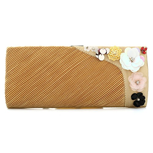 YYW Pleated Clutch Bag, Poschette giorno donna Gold