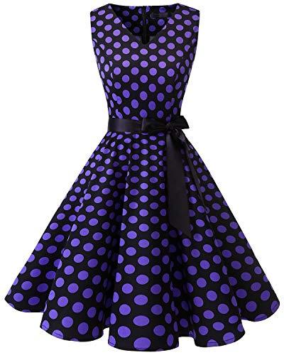 Kleid Kostüm 1960's - bridesmay 1950er V-Ausschnitt Kleid Vintage Cocktailkleid Rockabilly Retro Schwingen Kleid FaltenrockBlack Purple Dot S