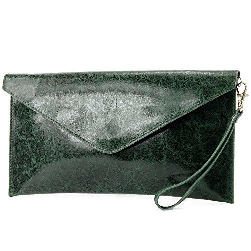 modamoda de - ital. Ledertasche Clutch Unterarmtasche Abendtasche Damentasche Handgelenktasche Glattleder T106G Dunkelgrün