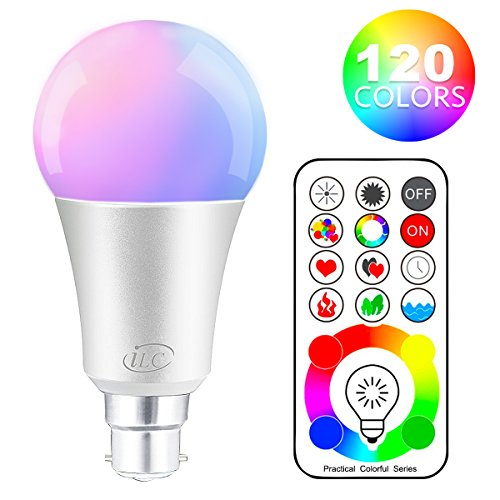 iLC B22 LED Colour Changing Light Bulb with Remote Control RGBW Bayonet - 120 Different Color Choices – RGB Daylight and White Dimmable Coloured – Timing Function