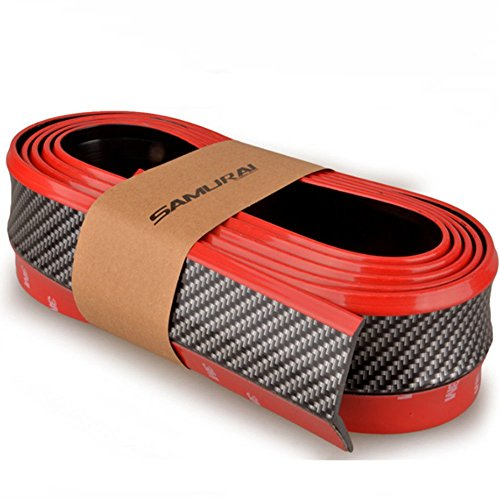 SJ Kohlefaser Frontschürze Lip Splitter Kinn Spoiler Body Kit Trim, 8Ft (2,5 Meter) Universal fit Most Auto (Schwarz) - 8' Kit