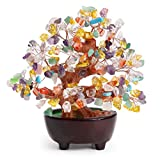 (Multicolor) - CrazySell 15cm Feng Shui Aventurine Quartz Gem Stone Money Tree Natural Green Crystal Money Tree Office Living Room Good Luck Decoration (Multicolor)