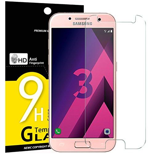 NEW'C PanzerglasFolie Schutzfolie für Samsung Galaxy A3 2017, Frei von Kratzern Fingabdrücken & Öl, 9H Härte, HD Bildschirmschutzfolie, 0.33mm Ultra-klar, BildschirmschutzfolieSamsung A3 2017