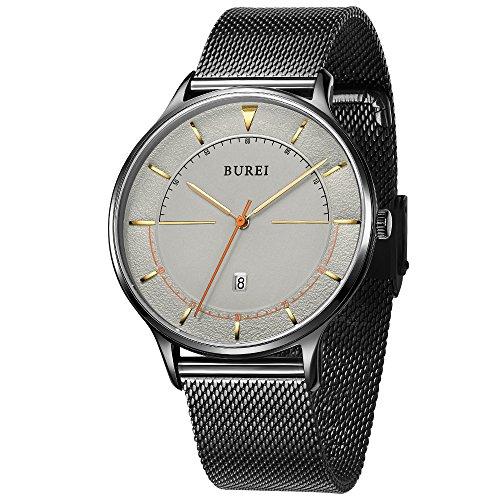 Burei Unisexe Argent mince minimaliste poignet Robe montres avec grand Calendrier visage Verre Minéral en maille Band (noir)