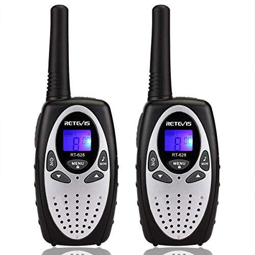 Retevis RT628 Walkie Talkies für Kinder PMR446 8 Kanäle VOX LCD Display Funkgerät Kinder Spy-Gear Spielzeug Geschenk für Kinder (1 Paar, Silbrig)