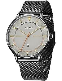 BUREI Relojes de cuarzo minimalistas unisex con gran cara negra de calendario analógico Cristal mineral Banda de malla suave (Negro)