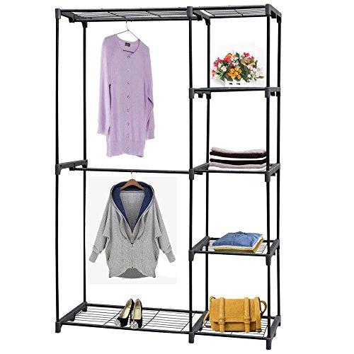 Yahee Kleiderschrank Kleiderständer Garderobenständer Regal mit 2 verchromte Kleiderstangen 4 Ablagen 114 X 44,5 X 171cm (schwarz)