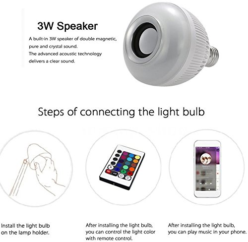 Bonzeal Wireless Bluetooth Speaker Smart LED Night Light Bulb With Remote