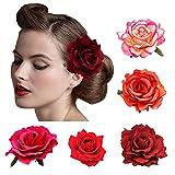 DRESHOW 5 Pack Fleur Broche Tête Ornement Mariée Femmes Rose Fleur Accessoires De Cheveux Pince À Cheveux De Mariage Danseuse De Flamenco...