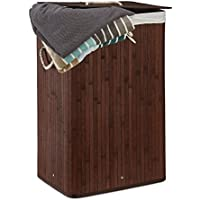 Relaxdays Wäschekorb Bambus, faltbare Wäschetruhe rechteckig, 83 L Volumen, H x B x T: ca. 65,5 x 43,5 x 33,5 cm, braun
