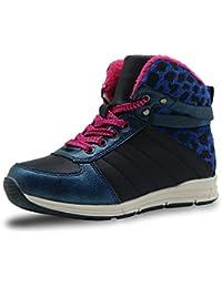 SUNNY & Baby–Botas de nieve Niñas Lace Up Style Little Kids Sneaker Toddler Zapatos Insdie Zipper Diseño Leopardo tobillo Bootie resistente a los rasguños, azul, 28 EU