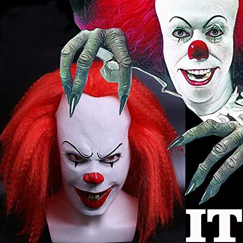 JNKDSGF HorrormaskeRotes Haar Unheimlich Latex Stephen Kings Es Clown Party Maskenkleid Lustige Cosplay Kostüm Joker Clown Masken Requisiten (Lustige Joker Kostüm)