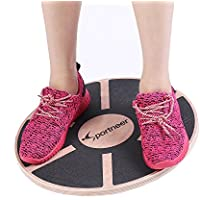 Sportneer Wooden Wobble Balance Board Anti Slip Surface Gym Fitness Exercise Rehabilitation Training, 40cm