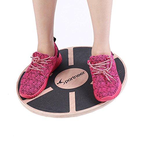 Sportneer Unisex Adult Y22-83000-01-eu Wackelbrett Balance Holz Durchmesser 40cm Gleichgewicht Board- professionel für die Übung, Gym, Sport Performance Enhancement, Rehab, Ausbildung, Schwarz