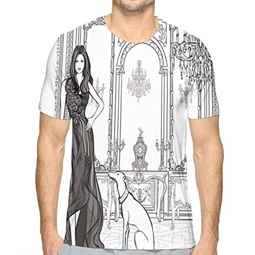 3D Printed T Shirts,Sexy Fashion Woman In Victorian Palace with Dog Baroque Illustration M -