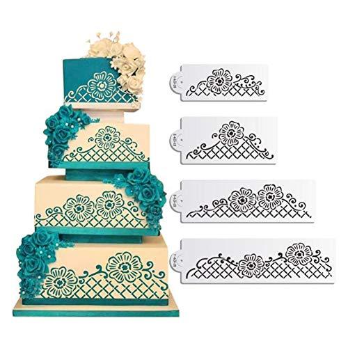4pcs Lace torte stencil set, pizzo floreale rete cake stencil, stencil cake Craft, cake Border stencil set, decorazione torta stencil,...