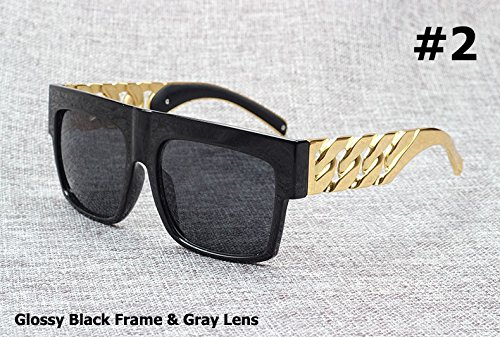 Aprigy Fashion Ber¨¹hmtheit spornte Goldmetallkette Kim Kardashian Beyonce Sonnenbrille Weinlese-Hip Hop-Gl?ser