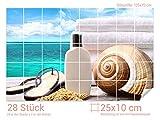 Graz Design 761444_25x10_70 Fliesenaufkleber Meer/Sonnen-Creme für Kacheln | Bad-Fliesen mit Fliesenbildern überkleben (Fliesenmaß: 25x10cm (BxH)//Bild: 105x70cm (BxH))
