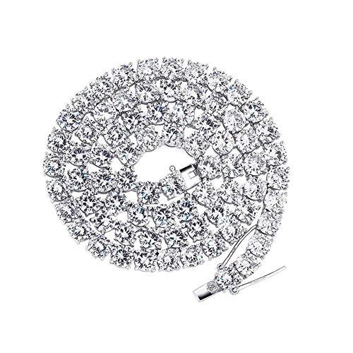 LILIMO 925 Sterling Silber 6mm Herren Halskette Bling CZ Iced Out Hip Hop Link Tennis Kette Halskette Schmuck für Geschenk,Silber,16inch