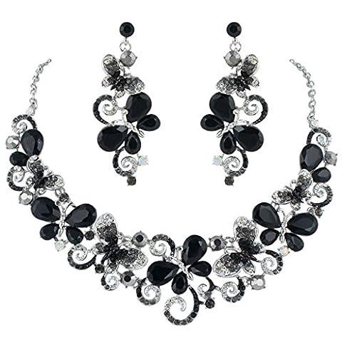EVER FAITH® Vague Papillon Collier Boucle d'Oreilles Parures Cristal Noir Ton d'Argent N04449-2
