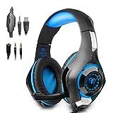 BEEXCELLENT GM-1 Gaming Headset mit Mikrofon LED-Licht f¨¹r PS4 PC Xbox ein Laptop Tablet-Handys (Blau)