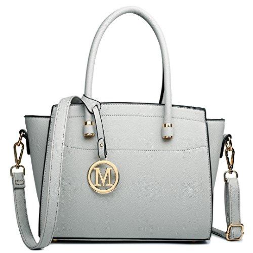 Miss Lulu Damen Klassische Geflügelt Handtasche Winged Schultertasche Klein Taschen 1625 Grey