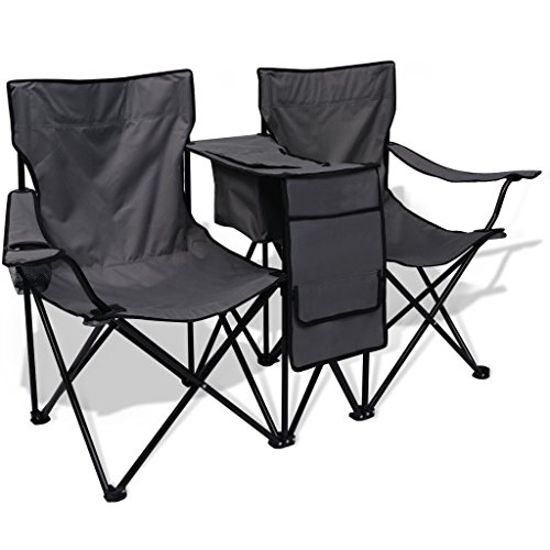 Festnight Silla de Camping Doble 155x47x84 cm Color Gris