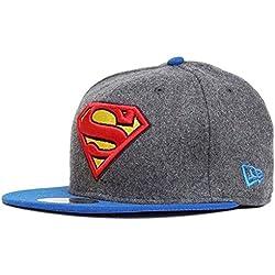 New Era Hero Melton Superman 59fifty 5950 Fitted Cap Charcoal Grey Black Kappe Men