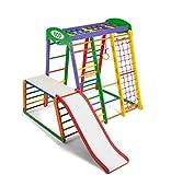 Centro di attività Akvarelka-PLUS-1-1, anelli, barre di scimmia, scivolo per bambini, al netto di arrampicata, scala svedese