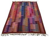 Lorenzo Cana Design Wolldecke jacquardgewebt aus feinster Wolle vom Merinolamm bunt Gemustert Mehrfarbig leuchtende Farben Wohndecke Wolle Sofadecke Kuscheldecke Plaid 140 cm x 200 cm 9626022
