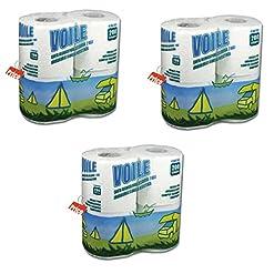 3 Confezioni Carta igienica WC Eco Voile 4 Rotoli idrosolubile Camper 200 Strappi