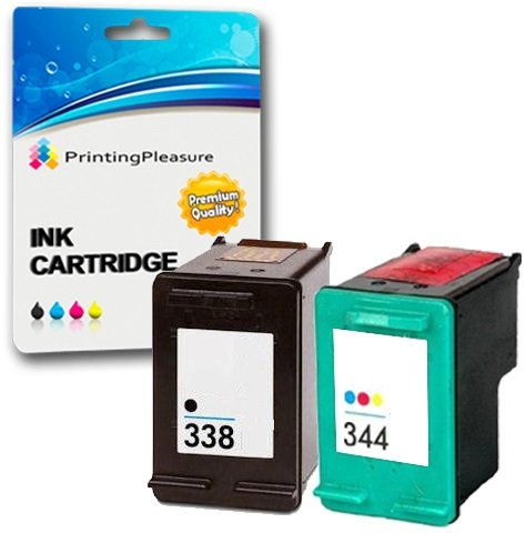Printing pleasure 2 cartucce d'inchiostro compatibili per hp officejet 100 mobile 6210 7210 7310 photosmart 2575 b8330 deskjet 460 6620 6840 9800 | sostituzione per hp 338 (c8765ee) & hp 344 (c9363ee)