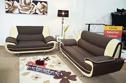 3+2 Seater Passero Brown And Cream Faux Leather Sofa ...