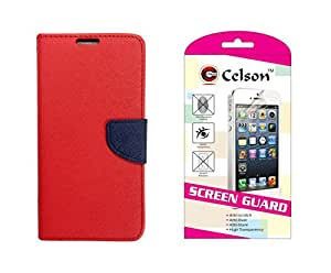 Celson Screen Guard & Flip Cover For Lenovo A1000 Flip Cover Case - Red Blue