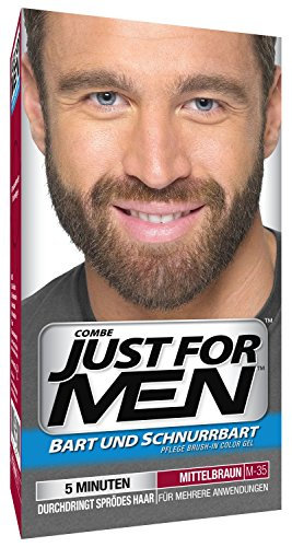 Just For Men M35 Moustache and Beard Facial Hair Color Medium Brown