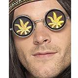 Kifferbrille Hologramm Brille Cannabis Funbrille Kiffer Spaßbrille Marihuana Faschingsbrille Gras Partybrille Hippie