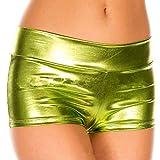 Biancheria Intima Donna Sexy Hot Calze, Sonnena Mutandine da Donna di Imitazione Leggera in Caldo Pantalone da Danza da Ginnastica Metallizzati a Rave da Bretella (Dimensione Libera, Giallo)