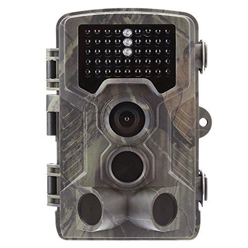 TRAACEM Jagdkamera 16 MP 1080P wasserdicht Jagdkamera für Wildtierüberwachung mit 120° Erfassungsbereich Bewegungsaktivierung Nachtsicht 42 Infrarotlampen -