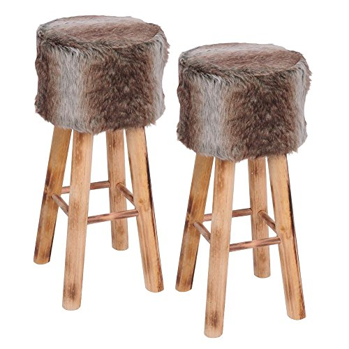 ToCi Barhocker aus Holz mit Kunstfell bezogen | Fell-Hocker mit 4 stabilen Holzbeinen im Hüttenzauber Style | 70 cm hoch | Sitzfläche 30 cm gepolstert, Stückzahl:2 Stück