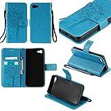 Guran Funda de Cuero Para Lenovo ZUK Z2 5' Smartphone Función de Soporte con Ranura para Tarjetas Flip Case Cover-azul