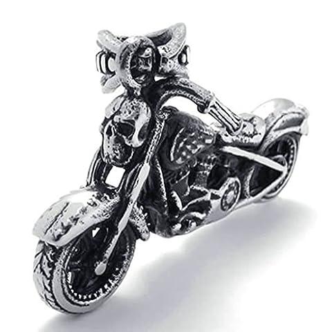 AMDXD Bijoux Rétro Collier,Acier Inoxydable Colliers Pendants pour Homme Motard Crâne Motorcycle 26 Pouce 26 Pouce