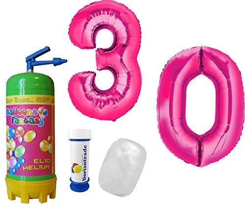 XL Folienballon Zahl ca. 86 cm Pink Zahlen frei wählbar inkl. Helium Ballongas + Ballonband + Gratis Doriantrade Seifenblasen (30)